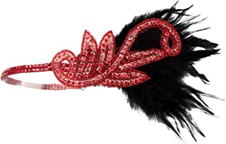 Flapper Headbands for Women 1920s Feather Headpiece Great Gatsby Roaring 20s Vintage Hair Accessories Bronze A
