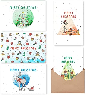 Christmas Cards Boxed Holiday Cards with Message Inside – 30 Adorable Xmas Cards with Gummed Kraft Envelopes – 6 Unique Designs