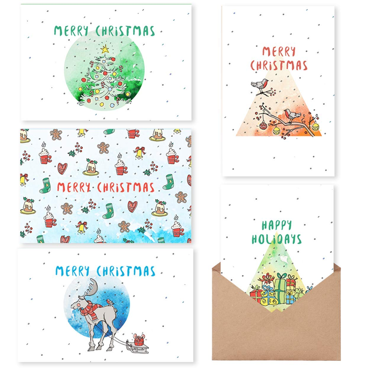 Amazon Com Mpfy Holiday Cards Christmas Cards Pack Of 30 With Envelope Message Inside 6 Unique Design Christmas Cards Boxed Christmas Card Holiday Cards Bulk Greeting Cards Happy Holidays Cards Xmas Office Products