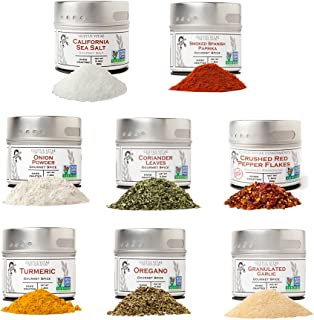 Pantry Starter Kit | Non GMO | Gourmet Spices And Salt | 8 Small Batch Herbs & Spices | Handpacked in Magnetic Tins | Gustus Vitae | #214