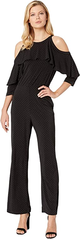 Cold Shoulder Metallic Dot Knit Jumpsuit