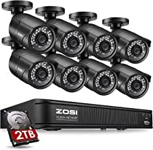 سیستم دوربین امنیتی ZOSI 1080p PoE ، ضبط کننده 8 کانال NVR با (8) 2.0 مگاپیکسلی 1920x1080p Surveillance PoE Camera Bullet Bullet Outdoor / Indoor ، 100ft Long Night Vision (هارد دیسک 2TB ساخته شده)