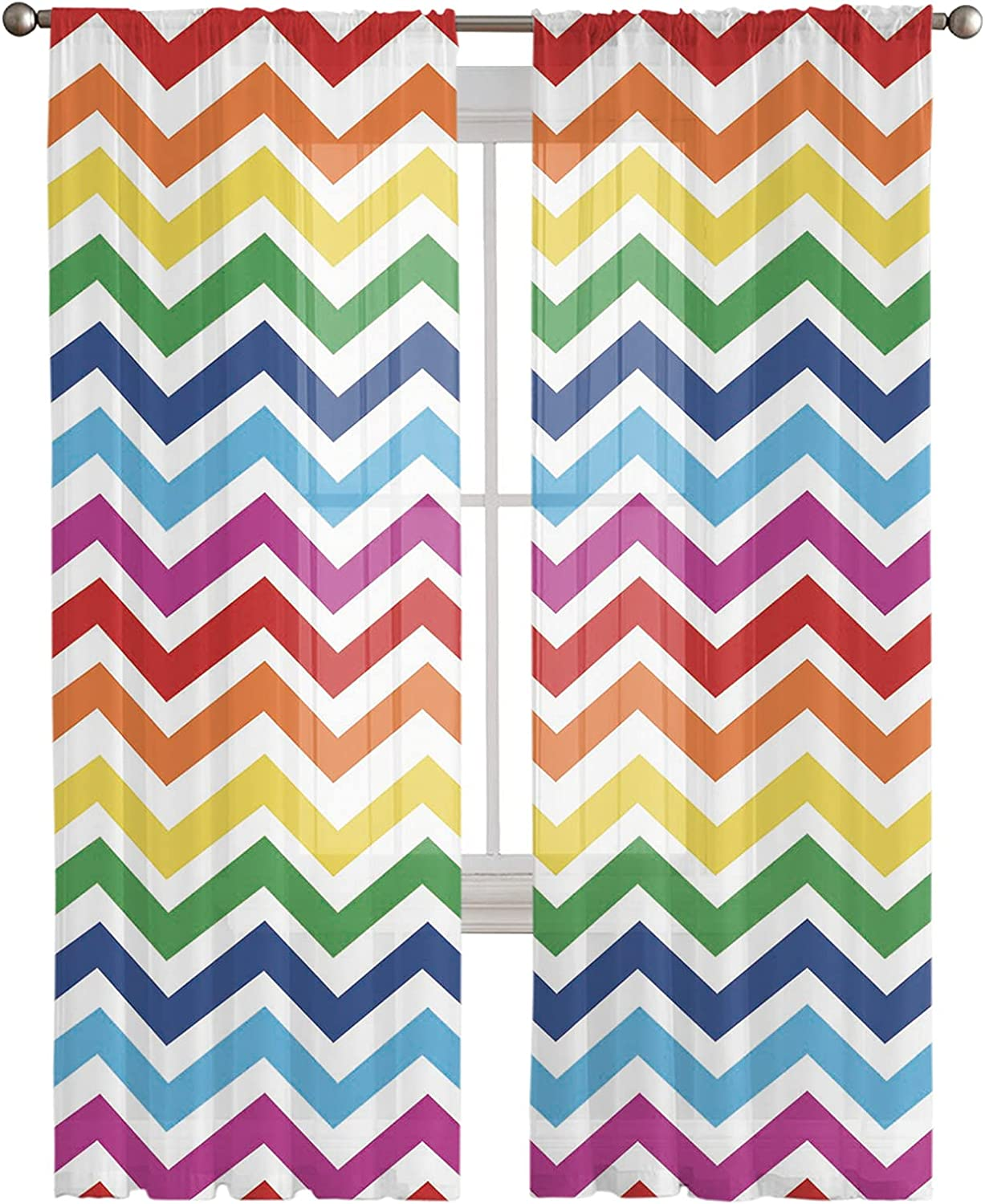 Kitchen Semi Sheer Now free shipping Window Curtain Long Inches Panels Rainbow 108 Max 65% OFF