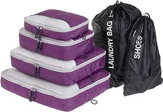 Globite 6 Piece Travel Set Premium Space Saving Luggage Organizer Bundle (4 Packing Cubes, 1 Laundry Bag & 1 Shoe Bag) (Purple)