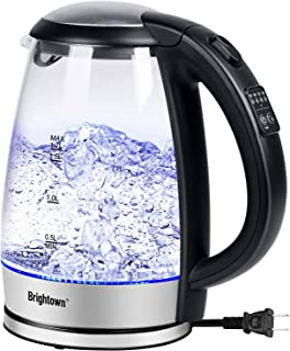 Electric Kettle, Brightown Programmable Glass Tea Hot Water Kettle with LED Light 1.7L 1500W Fast Water Boiler Automatic Shutoff Boil Dry Protection Durable Bpa Free