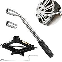 DICN Telescoping Lug Wrench Wheel Brace + 2 Standard Socket (17mm/19mm) (21mm/23mm) + Scissor Jack 2 Tonne Black Steel with Crank Handle Universal Fit
