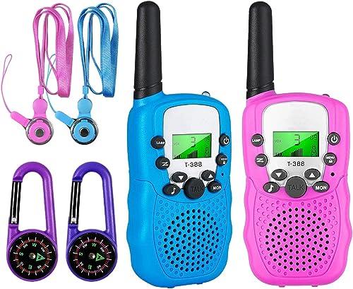 Talkie Walkie Enfant Jouet Garcon 3-12 Ans,Talkies Walkies Radio à 2 Voies avec 8 Canaux,Lampe de Poche LCD rétro-écl...