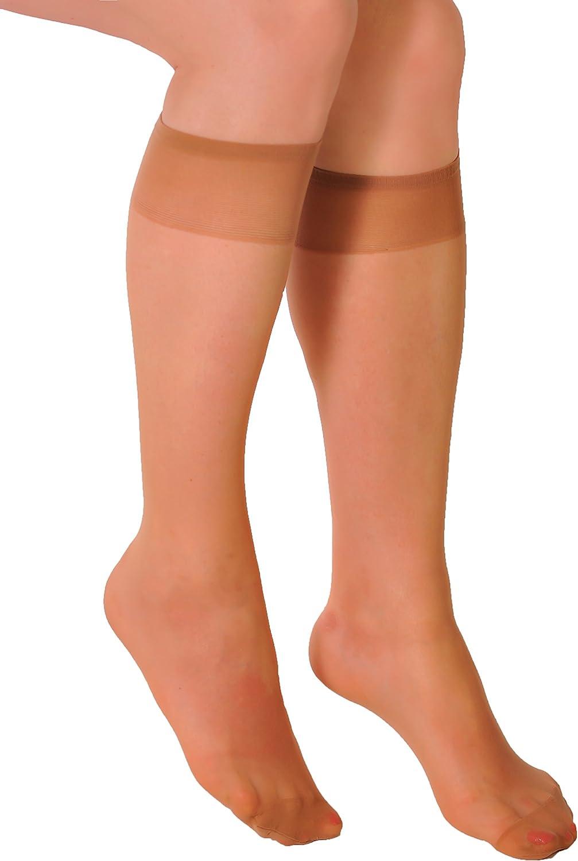 Ladies knee&ankle highs sheer no pattern multipacks Aurellie one size