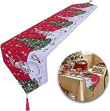 Huahao Extra lange kersttafellopers linnen tafelloper voor kerstfeest, diner en bijeenkomsten (178 x 34cm)