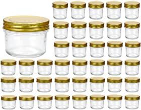 Encheng 4 oz Clear Glass Jars With Lids(Golden),Small Spice Jars For Herb,Jelly,Jams,Wide Mouth Manson Jars Canning Jars F...