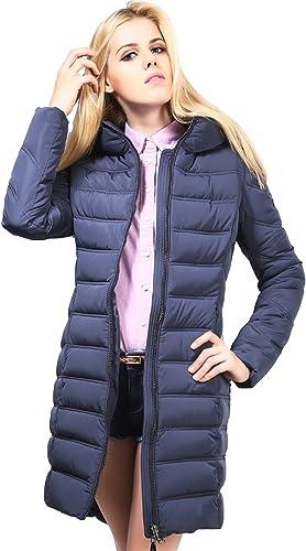 GEMVIE Doudoune Femme Long Slim Capuche Bleu Coat Blouson Hiver Chaude Taille2