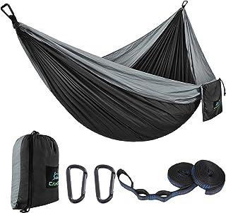 CAMDEA هاموک کمپینگ تک نفره با تسمه های درختی ، هاموک قابل حمل سبک کمپ ، تاب خوردن چادر Hammock برای خواب ، کوله پشتی ، مسافرت ، فضای باز ، ساحل ، پیاده روی ، سیاه مشکی