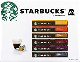 Starbucks By Nespresso Coffee Pods Variety Pack 60 Capsules (10 of each flavour) - Gift Pack