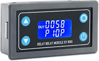 Delay Relay Module, DROK DC 6-30V Timer Relay 12V 24V 0.01s-9999min 50mA Digital Timer Cycle Delay Switch Module AC 220V Power On-Off Controller with LCD Display Switch Button Case