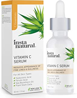 InstaNatural Vitamin C Serum with Hyaluronic Acid & Vit E - Natural & Organic Anti Wrinkle Reducer Formula for Face - Dark...
