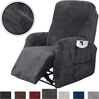 Rose Home Fashion RHF 4 Separate Piece Velvet Recliner Slipcovers, Recliner Chair Cover, Recliner Cover Furniture Protector Elastic Bottom, Recliner Slipcover with Side Pocket (Dark Grey-Recliner)