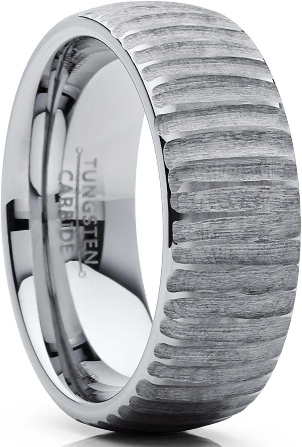 Men's Tungsten Carbide Dome Wedding Band Engagement Ring Chieseled Tree Bark Textured Design