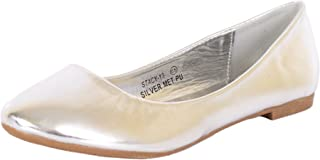 7193f031bab3a4 Bella Marie Stacy-13 Women s Round Toe Faux Leather Slip on Boat Ballet  Flat Shoes
