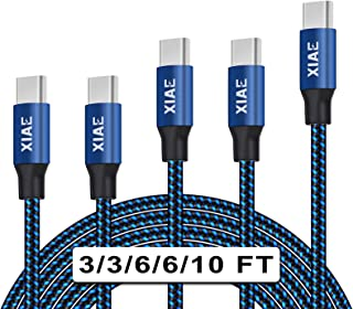 USB C Cable,XIAE 5Pack (3/3/6/6/10FT) Nylon Braided Fast Charging Cable Aluminum Housing Compatible with Samsung Galaxy S1...