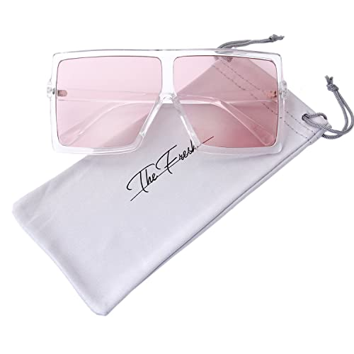 67852e69b96b The Fresh Large Oversized Fashion Square Flat Top Sunglasses with Gift Box