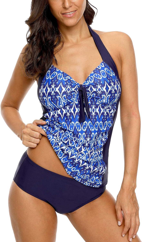 ALove Womens Tummy Control Two Piece Swimsuits Retro Color Block Swimwear XL