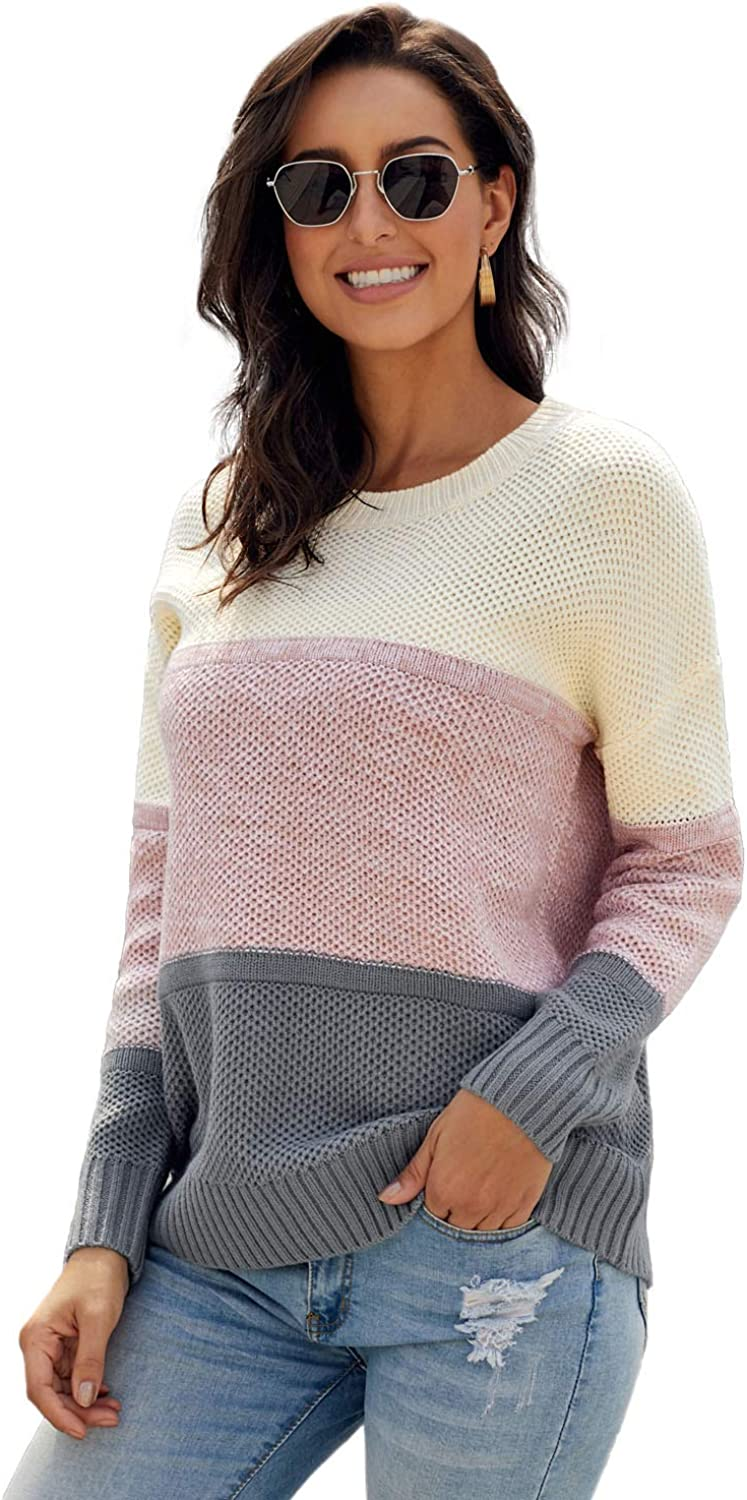 Women's Striped Color Block Crew Max 47% shopping OFF Neck Knit P Long Sleeve Sweater