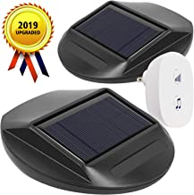 WJLING 2019 UPGRADED Solar Motion Sensor Alarm,Solar LED Lights, Wireless Driveway Alarm, Outdoor,Indoor Weatherproof Business Detect Alert with 2 Sensor and 1 Receiver,38 Chime Tunes - LED Indicators