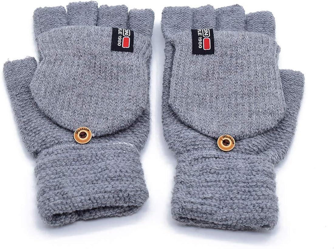 Winter Warm Thermal Fingerless Gloves Soft Knit Wool Glove Mittens for Men Women