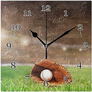 Sport baseball mönster väggklocka tyst icke-tickande fyrkantig konstmålning klocka för hem kontor skoldekor