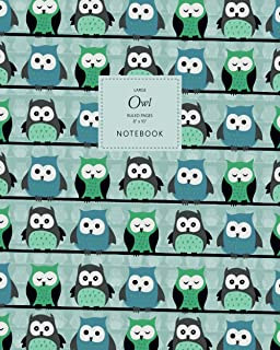 Owl Notebook - Ruled Pages - 8x10 - Large: (Mint Edition) Fun Bird of Prey Notebook 192 ruled/lined pages (8x10 inches / 2...
