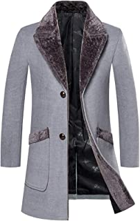 Mens Long Wool Blend Overcoat Winter Thicken Two Button Outwear Jacket
