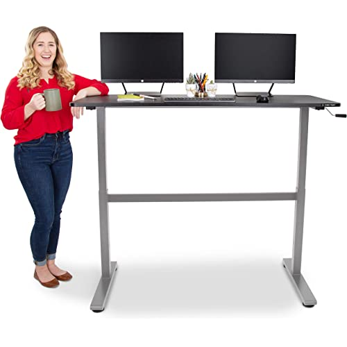Amazon Com Stand Steady Tranzendesk 55 Inch Standing Desk Easy Crank Height Adjustable Sit To Stand Workstation Modern Ergonomic Desk Supports 3 Monitors Great For Home Office Black Top Silver