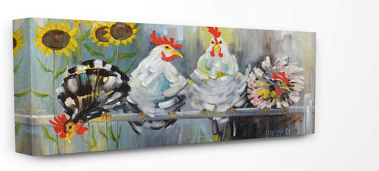 The Stupell Directly managed store Home Décor Collection Farm Ruffled Chickens Feath Deluxe