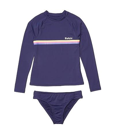 Hobie Kids Heritage Stripe Long Sleeve Rashguard Side Sash Hipster Bottoms (Big Kids) (Navy) Girl