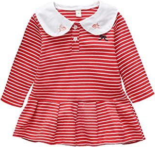 Xifamniy Infant Girls Long Sleeve Skirt Embroidery Rabbit Collar Striped A-Line Dress Red