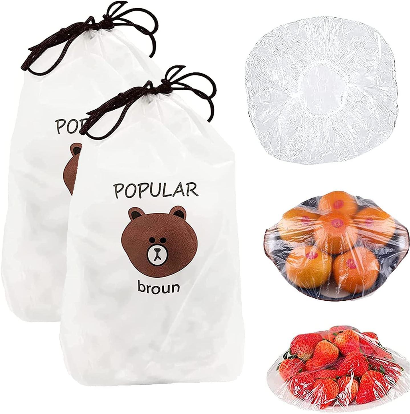 200 PCS Fresh Keeping Bags, Reusable Elastic Food Storage Covers, Plastic Sealing Elastic Stretch Bowl Lids, Universal Kitchen Wrap Seal Caps