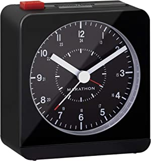 Marathon Silent Non-Ticking Alarm Clock with Warm Amber Auto Back Light and Repeating..