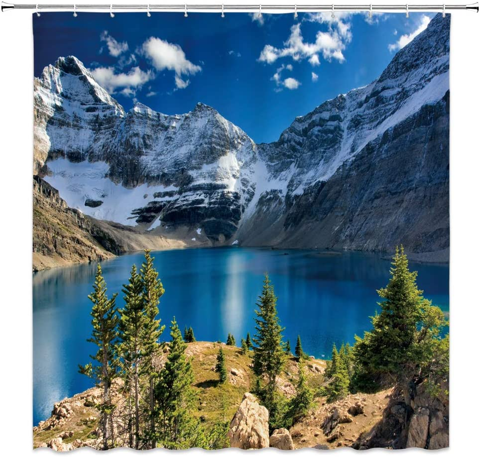 XZMAN Mountain Excellence Scenic Shower Curtain Popular popular Nature Blue S Lake