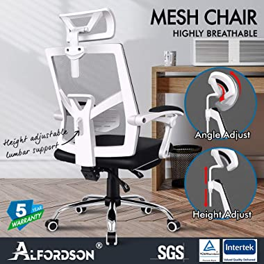 ALFORDSON Mesh Office Chair with Footrest Executive Computer Desk Chair Fabric Seat Racing Recline(White)