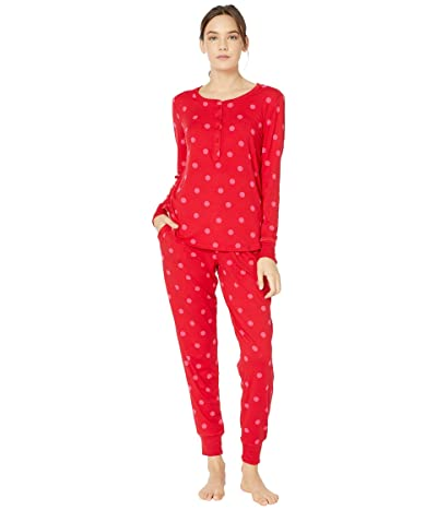 Kate Spade New York Brushed Jersey Jogger Long Pajama Set (Large Deco Dot) Women