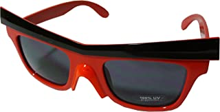 Angry Bird Style Designer Insprired Wayfarer Sunglasses with Brow and Beak - Red Frame w/ Black Brow