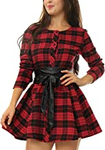 MRstriver Women's Plaids Long Sleeves Single Breasted Belted Mini A Line Dress RedSmall