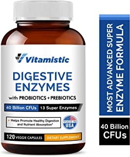 Vitamistic Digestive Enzymes Plus Probiotics & Prebiotics, 40 Billion CFUs, Supports Natural Digestion & Nutrient Absorption, Helps Gas Bloating Constipation IBS, Non-GMO, Gluten-Free, Dairy-Free
