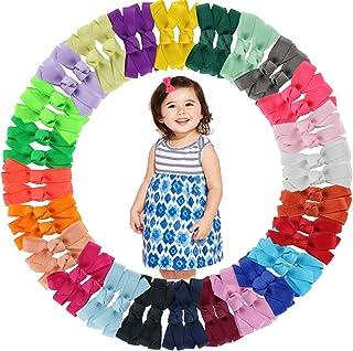 50PCS 2Inch Mini Hair Bows Clips Boutique Grosgrain Ribbon Hair Bows Alligator Hair Clips Barrettes for Baby Girls Infants...