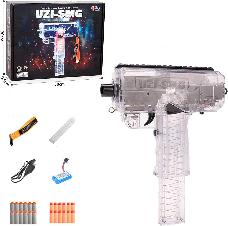 Uzi Pistola De Juguete,Pistola De Burst Soft Bullet Boys Toy Guns,Transparente Sub-Ametralladora Larga Alcance Esponja,Para NiñOs Pistola De Juguete Interactiva Para Padres (Standard) (Transparent)
