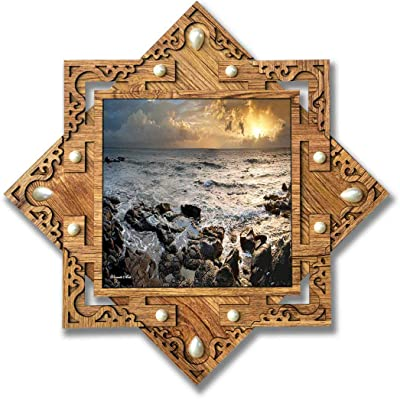 PnF Star shaped Wooden Frame with Photo of Senery Natural (16.5x16.5inch,Multicolour,Wood)