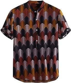 T Shirt for Men Beachwear Casual Short Sleeve Hawaiian Tanks Tops Lump Chest Pocket Stripe Printed