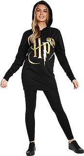 HARRY POTTER Robe Pull Femme, Sweat A Capuche Noir Extra Long, Pull Oversize Femme Ou Fille Ado en Coton, Idée Cadeau pour...