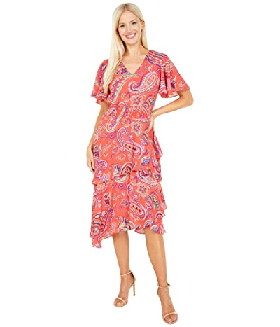 Tahari by ASL Printed Paisley Georgette Dress with Flutter Sleeve and Smocked Waistline