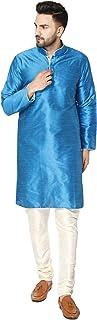 SKAVIJ Men's Tunic Art Silk Kurta Pajama Set Indian Traditional Wear (M, Turquoise)